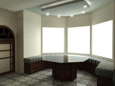 Kitchen design with window sitting place