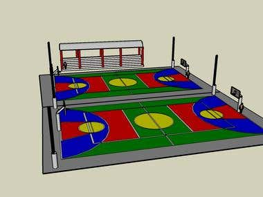 Design of an indoor court of uses multiple