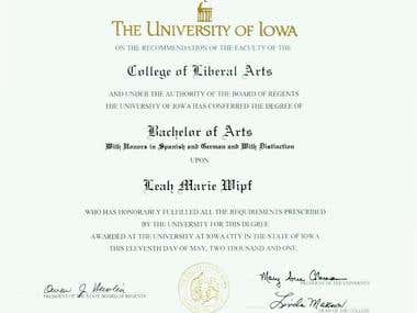 BA Diploma * with Distinction and Honors