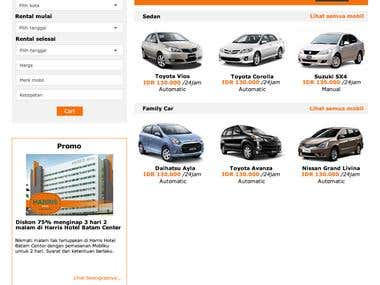 Rent car website template