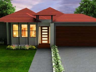 3d front facade rendering