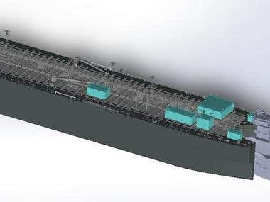 Complete 3D modeling of Cargo Vessel and design of small com