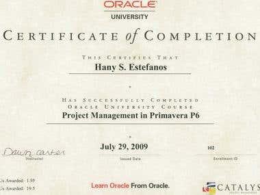 Primavera P6 training certificate