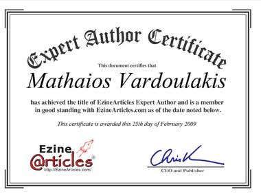 Ezine Articles Expert Author Certificate