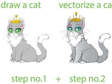 CAT DRAW AND VECTORIZE