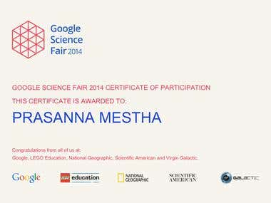 Participation at Google Science Fair