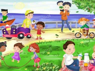 happy kids scene