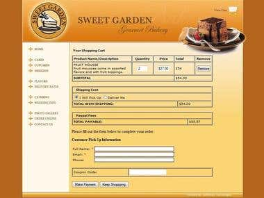 SweetGarden - Custom Shopping Cart