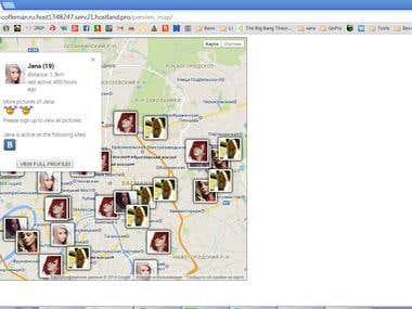 Users map for social network (PHP, jQuery, Google Maps API)