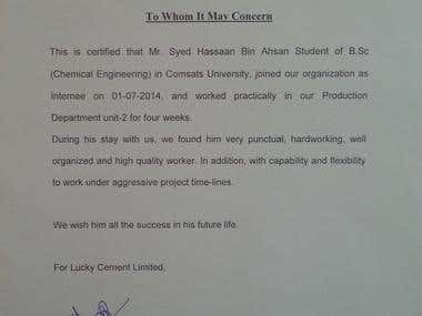 Internship Certificate Lucky Cement Limited