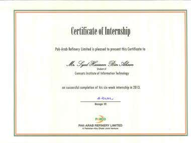 Internship Certificate of Pak Arab Refinery Limited