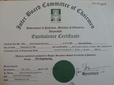 HSSC Certificate
