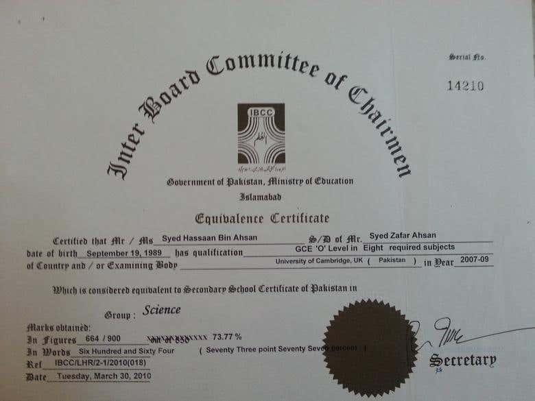 SSC Certificate | Freelancer