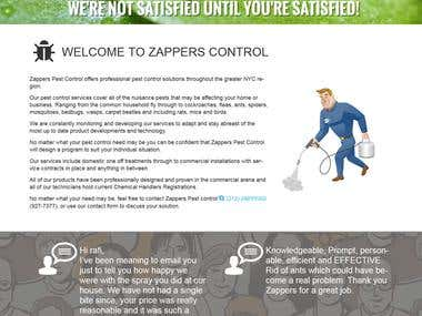 Zappers: Wordpress design for Zappers pest control