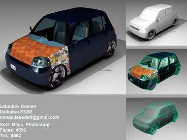 Low-poly Daihatsy Esse model.