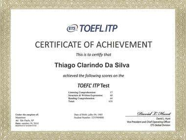 TOEFL Certificate of Achievement - Gold