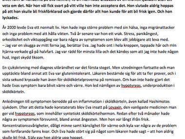 Health article in Swedish - hypothyroidism