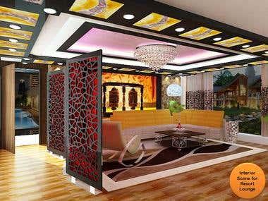Resort Interior 3D Design Rendering