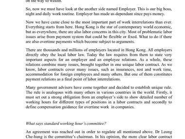 Employment issues in Hong Kong
