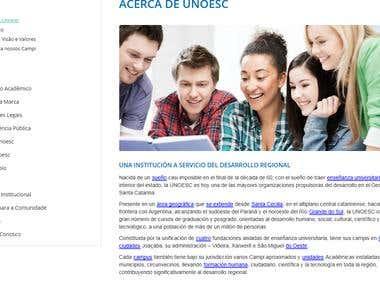 Tradução site Universidade Unoesc Campus Joaçaba