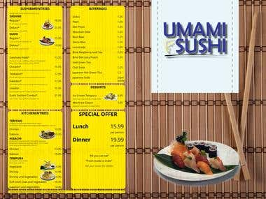 Menu Design for Umami Sushi