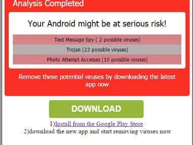 Virus scan landing page