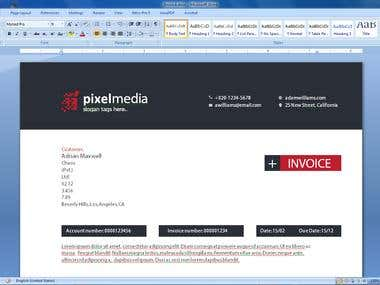 Professional Invoice in word