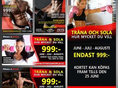 Printed Arts, Flyer, Posters, Rollup to Fitness World.