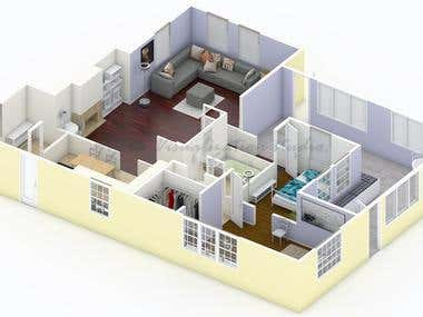 3D floor plan of french cottage.