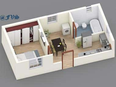3D Floor Plan of Guest House.