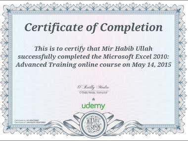 Excel Advanced Completion Certificate