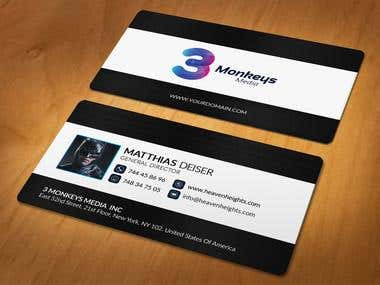 Contest wining business card