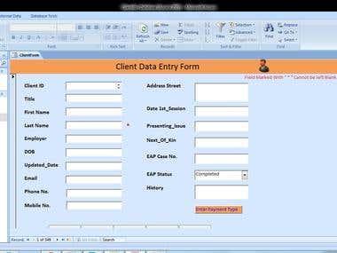 Microsoft Access Database & Form Design