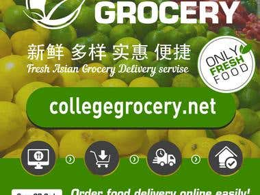 Poster.  Adwertisment  for collegegrocery.net