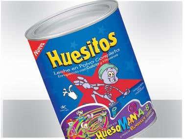 Diseño de Gráfica para lata de Leche en Polvo Huesitos