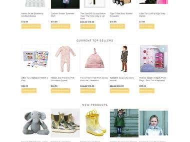 Childrens clothing Ecommerce website