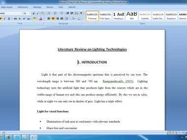 Literature Review on Lighting Technologies