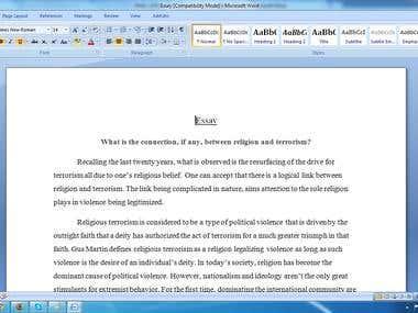 An Essay on Religion vs Terrorism