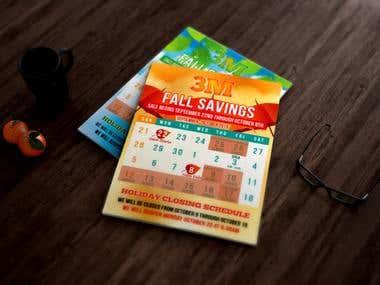 Calendar, gift card, voucher