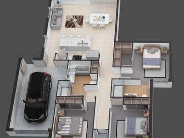 3D floor plan render for an Australian client..............