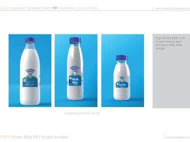 Capo Fresh milk label and 3D bottle design