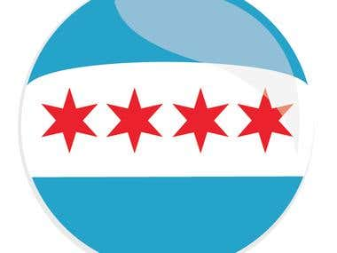 Chicago Flag Button