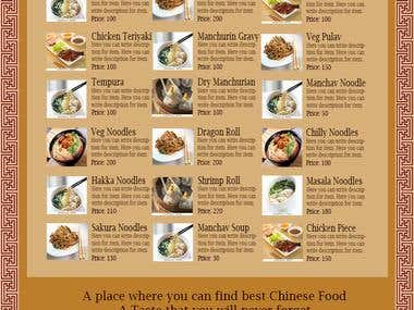 Menu for Chinese Food Restaurant