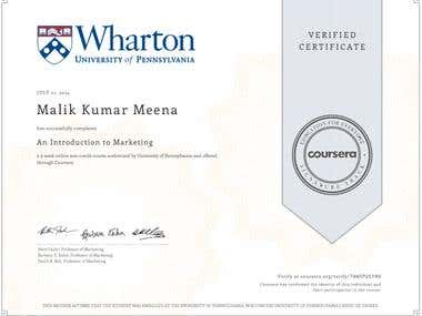 Certificate of Marketing from Wharton School