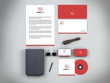 MediaHeart.ro - Branding / Stationery / Identity Mockup