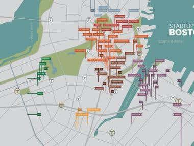 Startups of Boston Map