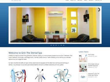 grin the dental spa - wordpress website