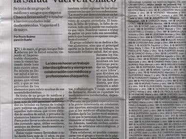 Página semanal en La Capital