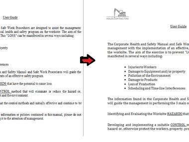 Formatting Word Document