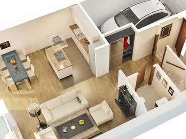 2D & 3D residential plan views